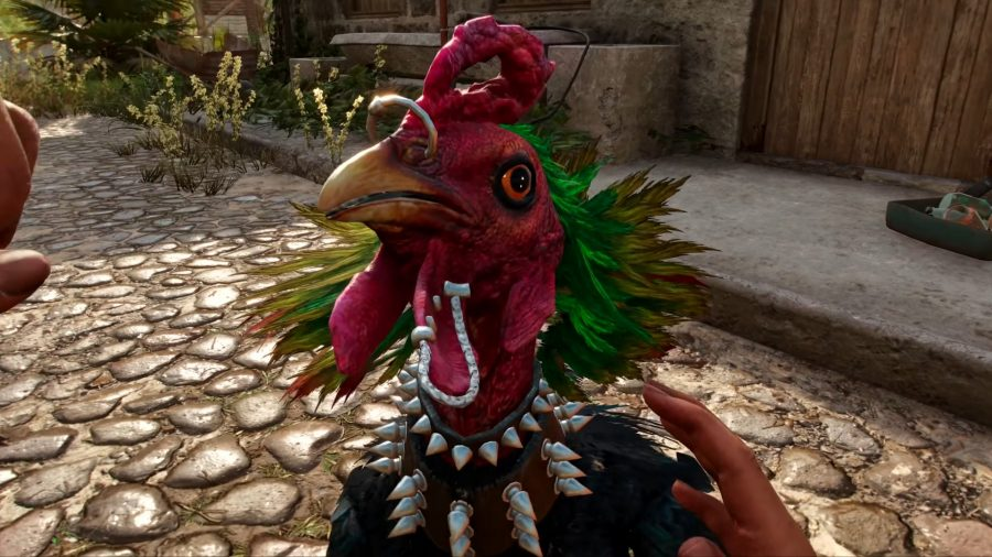 Chicharrón, the punk rooster, in Far Cry 6