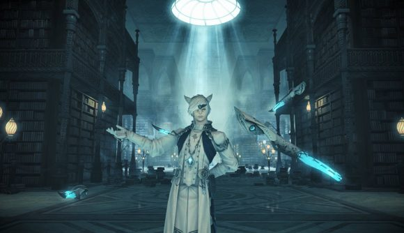 A Final Fantasy XIV character stands in a library