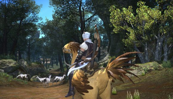 Riding a chocobo along a forest path in Final Fantasy XIV