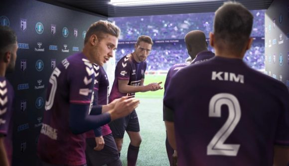 Players in purple uniforms prepare to take the pitch in a piece of key art for Football Manager 2022.