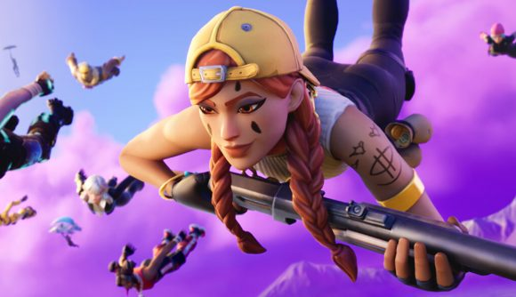A group of Fortnite characters dive into battle