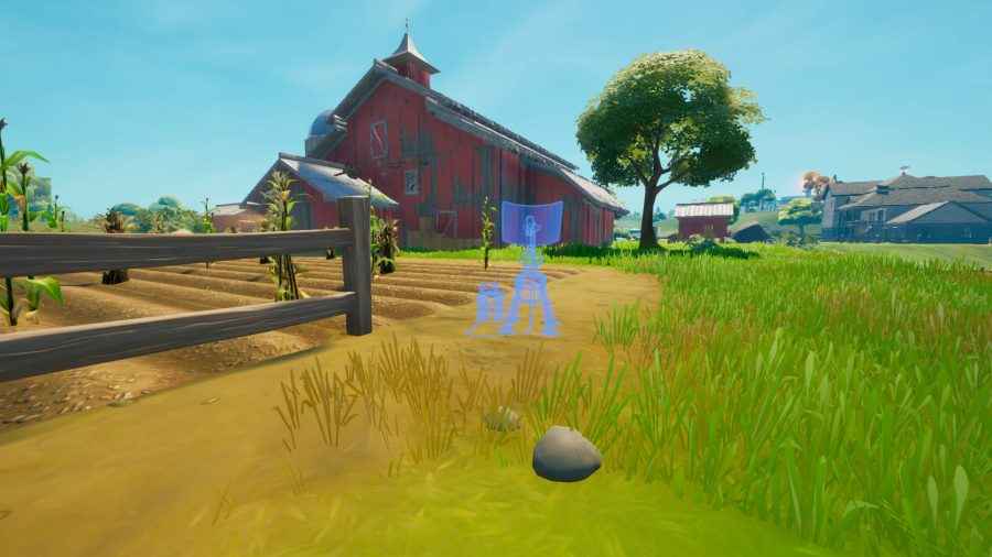 A blue outline of a jammer outside a red barn in Fortnite