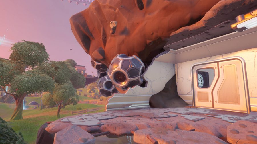 This countermeasure device stuck to the side of an island is the one the Fortnite mole has sabotaged.
