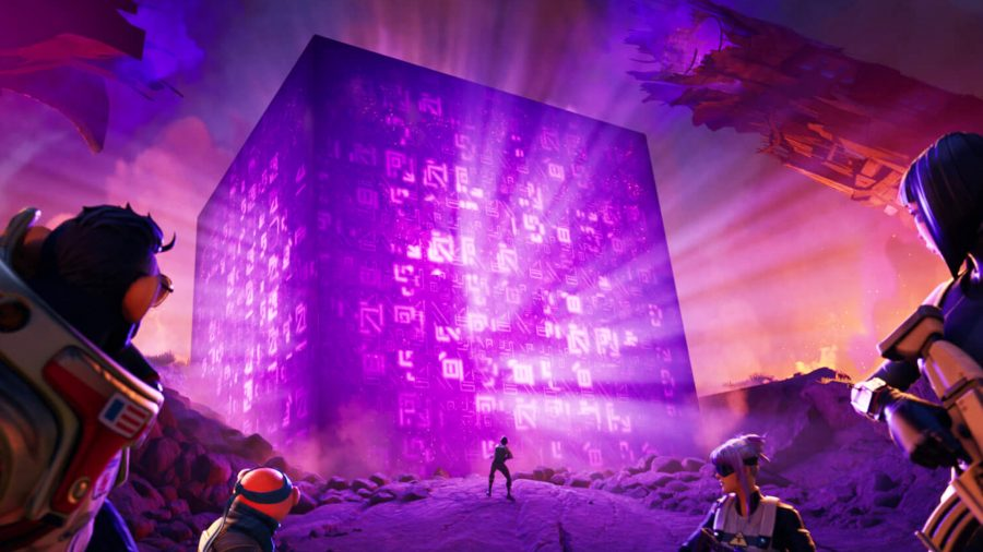 A Fortnite squad staring at a large purple cube in Fortnite Chapter 2 Season 8