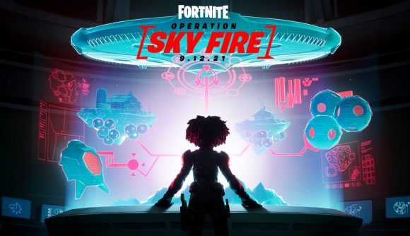 A silhouetted stands in front of a holographic mission display screen. The logo for Fortnite's Operation Sky Fire event appears