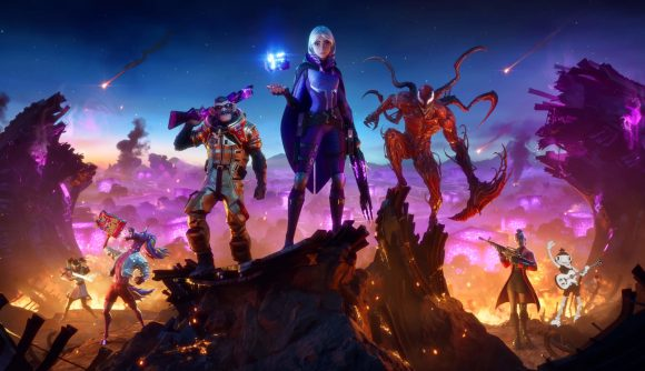The characters of Fortnite Season 8 stand amid a fiery ruin