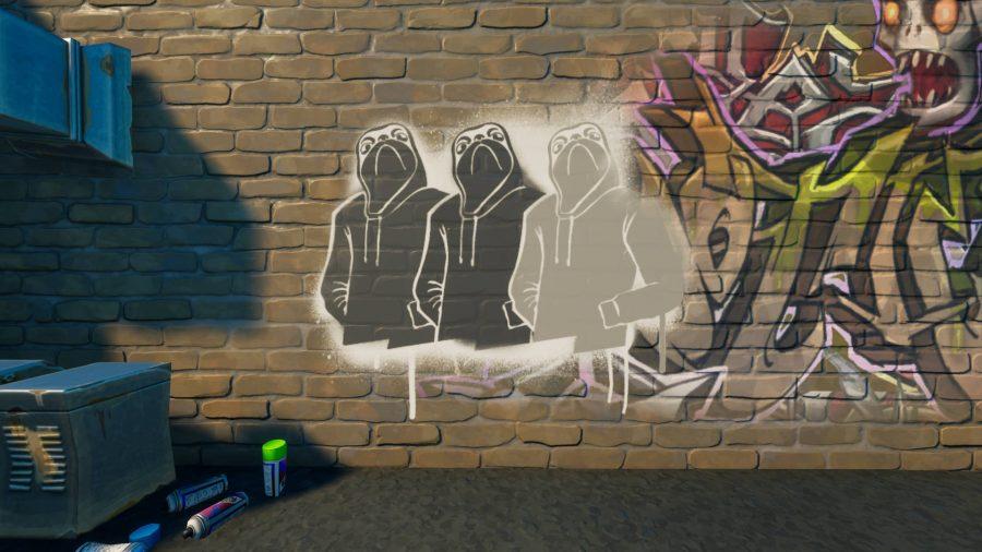 The Shady Doggo graffiti in Fortnite sprayed onto a wall.