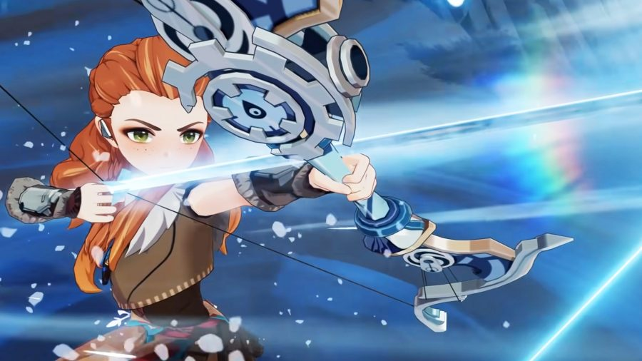 Aloy aiming her bow towards her elemental skill in Genshin Impact 2.1