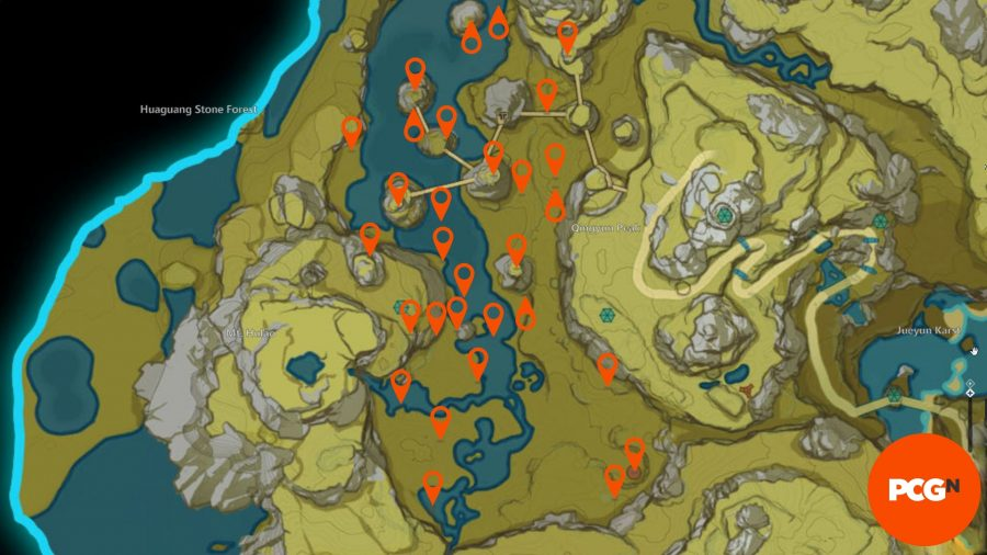 A map of all the moonchase charm locations in the Genshin Impact Moonlight Merriment event