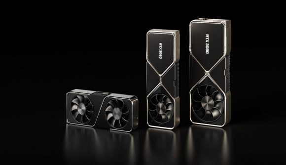 A 3D render of Nvidia's RTX 3000 series GPU lineup against a black backdrop