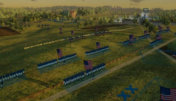 Union formations line up outside Gettysburg in Grand Tactician.