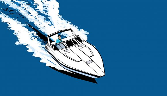 A GTA: Vice City character jets across the sea