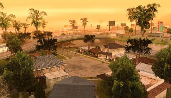 A shot of Grand Theft Auto: San Andreas' Grove Street