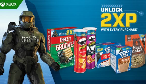 Master Chief and a whole lot of Kellogg's snacks advertising XP boosts for Halo Infinite