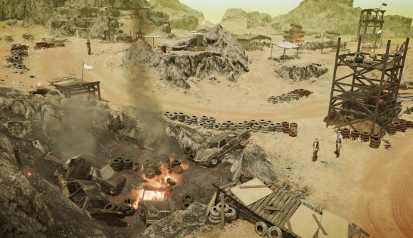 Several armed mercenaries stand near a pit of burning cars and tires in a remote desert location in Jagged Alliance 3.