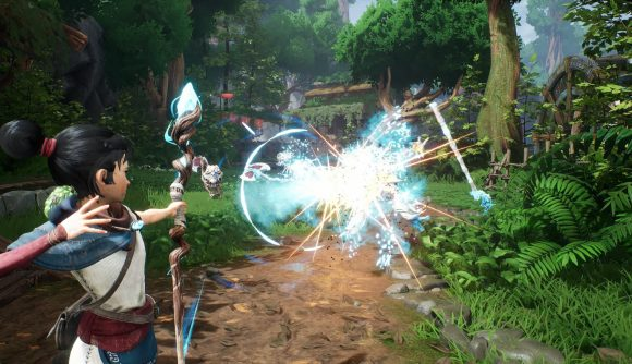 Kena looses an arrow from her magical bow into a group of enemies near an overgrown mountain village in Kena: Bridge of Spirits.