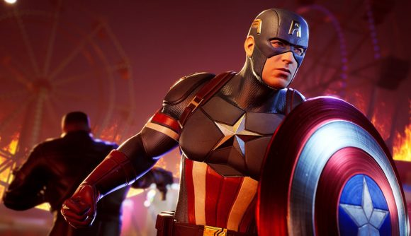 Captain American and Blade stand back to back in Marvel: Midnight Suns