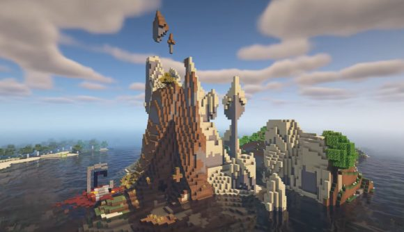 A rocky islanded built with Minecraft's new terrain generation system