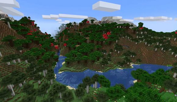 Mountains and rivers built with Minecraft's new terrain generation features