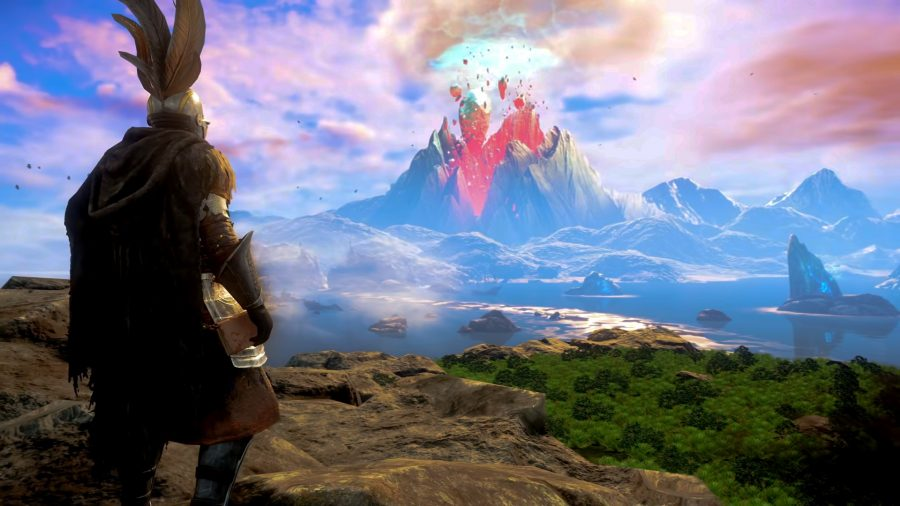 A character stands on a rocky hill, looking out at an exploded volcano in New World