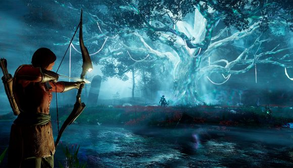 A screenshot from New World in which an archer is taking aim at an enemy by an ethereal looking tree