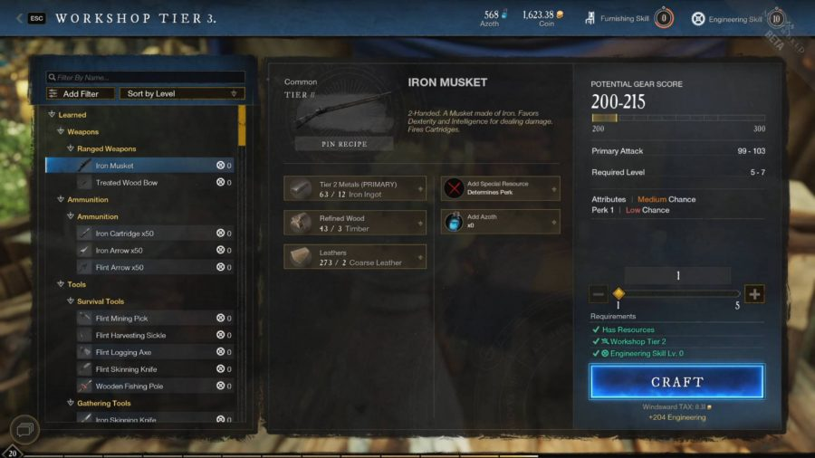 Crafting an item such as the Iron Musket in the Workshop grants you XP towards leveling the New World.