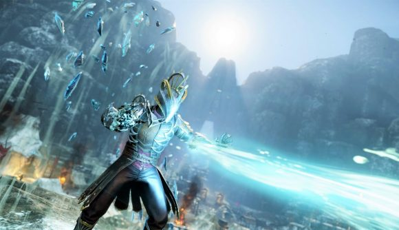 An armoured mage in New World's open beta blasts icy spells from his hands
