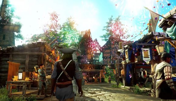 A New World character in a settlement as fireworks burts overhead in the MMORPG