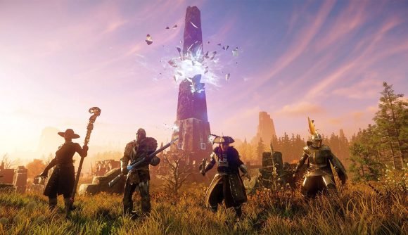Four New World MMORPG characters in front of a sunrise and smashing obelisk