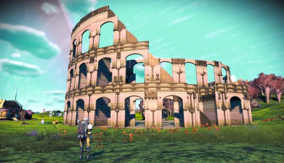 A No Man's Sky fan recreation of the Colosseum using Frontiers update content