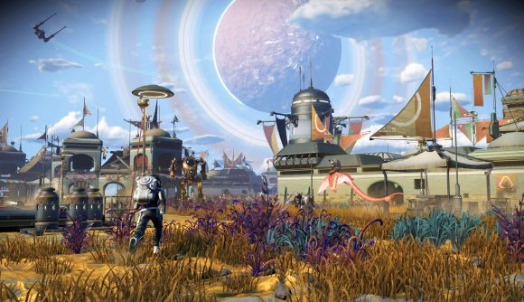 A settlement in No Man's Sky's new Frontiers update