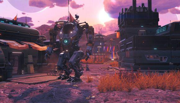 A mech walks through a base on an alien planet at dusk in No Man's Sky.