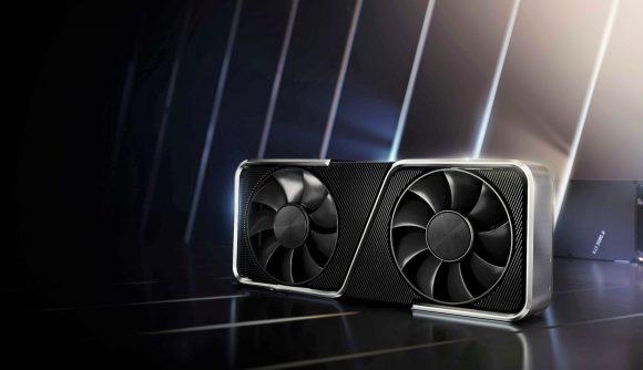 Nividia RTX graphics card with reflective backdrop