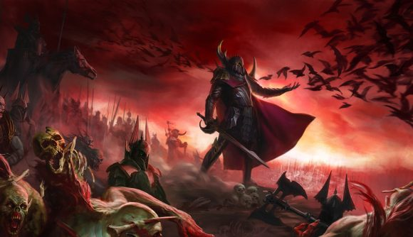 An armoured Vampire Counts lord leads an army in a painting of a Warhammer battlefield.