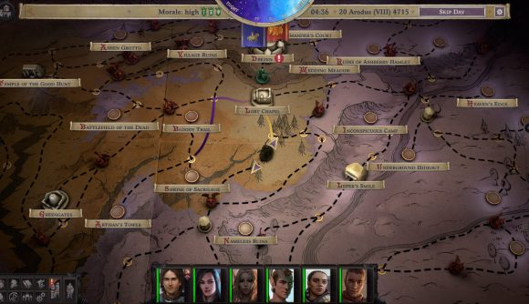 A map screen in Pathfinder: Wrath of the Righteous