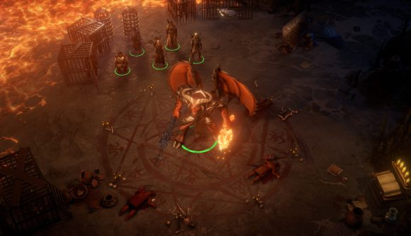 A party stands outside a summoning circle holding a demonic foe in Pathfinder: Wrath of the Righteous