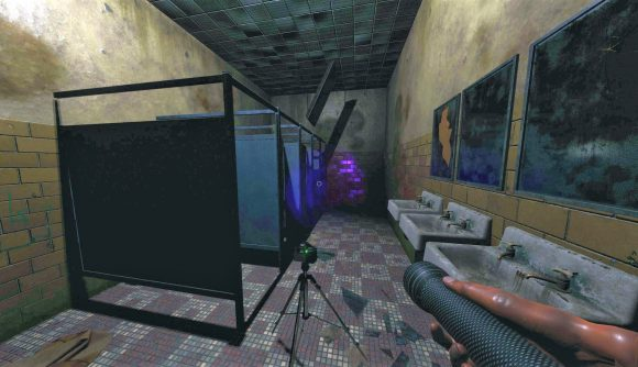 A bathroom with stalls and sinks in ghost game Phasmophobia