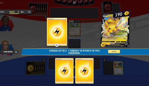 Attaching yellow energy cards to a Pikachu in Pokémon TCG Live