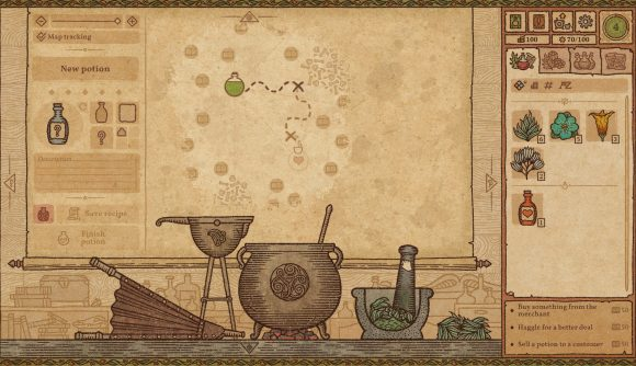 Using alchemists' tools to create a concoction in Potion Craft