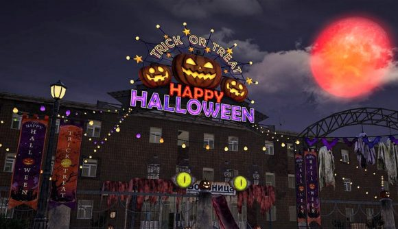 PUBG's Erangel map with Halloween-themed items and decorations