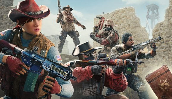 A group of Rainbow Six Siege characters line up in western gear for the Showdown event