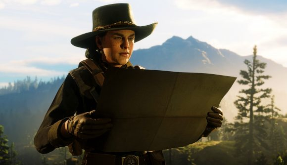 A Red Dead Online player looking at a map