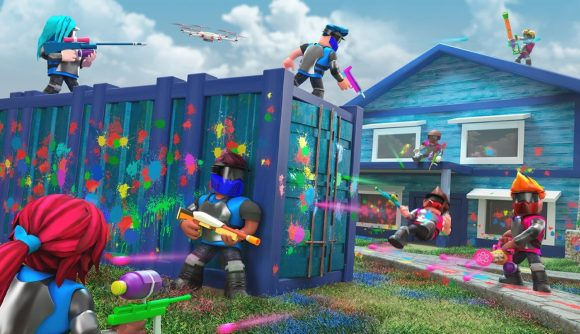 Brightly coloured characters face off in a paintball match in Roblox.