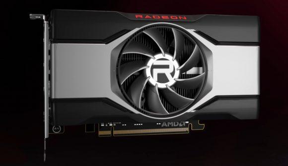 A 3D render of an AMD RDNA2 GPU