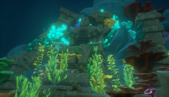 An underwater ruin, appearing as a teaser for Sea of Thieves: Season Four