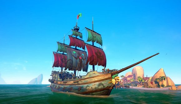 A Sea of Thieves ship on the high seas
