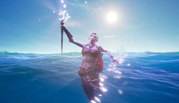 A merfolk is ready to retrieve your siren shrine treasure in the new Sea of Thieves update