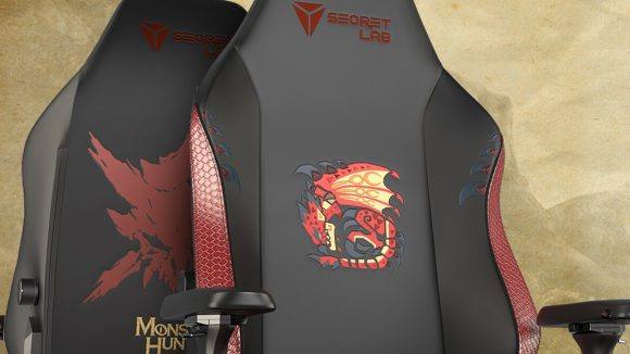 A pair of Secretlab Titan Evo 2022 Monster Hunter Edition gaming chairs back to back showcasing the designs on either side of the backrest