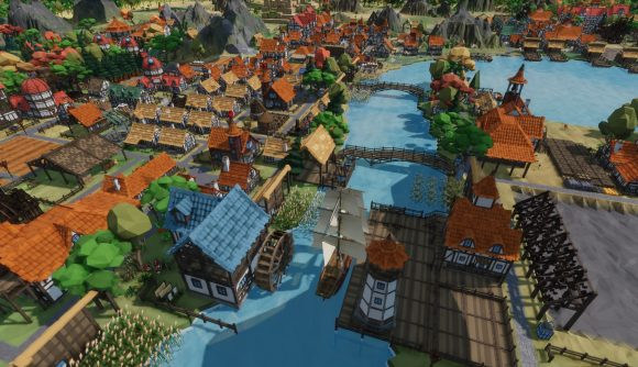 A colourful medieval town hugs the banks of a river in Settlement Survival.