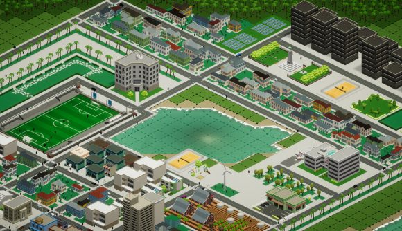 A town constructed in the upcoming throwback city builder, Silicon City